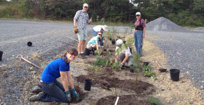 SCWA Members planting a rain garden